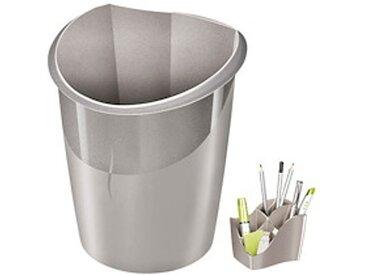 Pack corbeille à papier + multipots Cep Ellypse Metallic gris