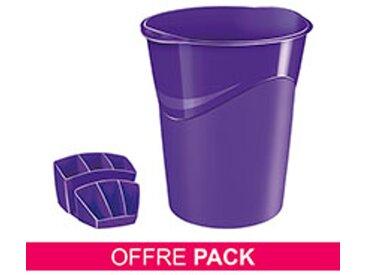 Pack corbeille à papier + multipots Cep Gloss violet