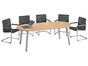 Table de réunion Design - plateau ovale 210 X 102 hêtre piètement alu