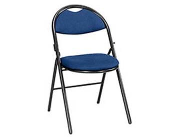 Chaises pliantes Super Confort tissu non feu allumette piétement noir - bleu - Lot de 2