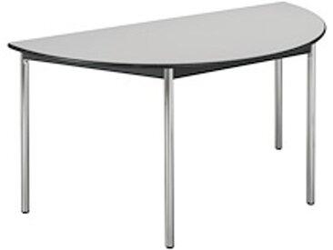 Table réunion gris/chrome demi rond pieds vérins