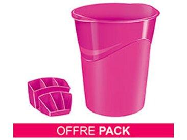 Pack corbeille à papier + multipots Cep Gloss rose
