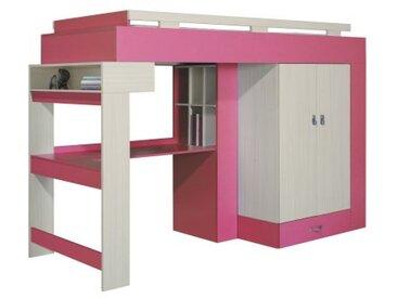 Lit surelevé avec bureau et armoire chambre enfant - Vera