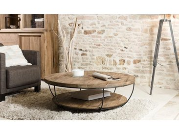 TABLE BASSE RONDE SOUS PLATEAU TECK RECYCLÉ - TEKKHU