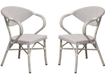 Lot de fauteuils de jardin alu gris et textilène lin - Ushuaia