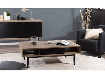 Table basse en acacia avec rangements - Nero