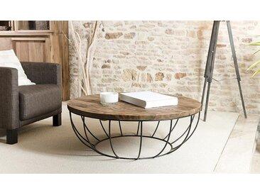 TABLE BASSE RONDE EN TECK ET MÉTAL - THEKKU