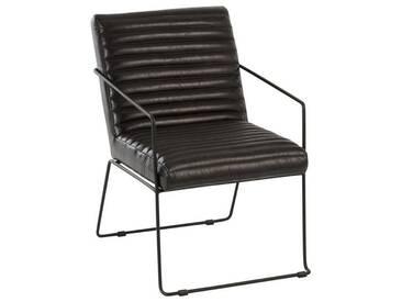 Chaise cuir metal noir BIRIMGAN by J-Line