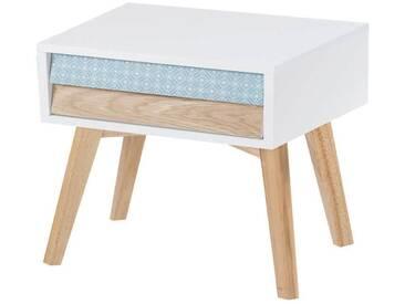 Table de chevet HAILEY Blanc Bleu Bois