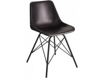 Chaise loft cuir metal noir BENARKIN by J-Line