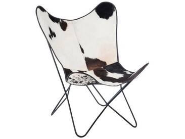 Fauteuil papillon lounge peau de vache BAGO by J-Line