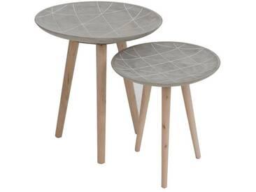 2x Tables gigognes lignes ciment BLACKWATER by J-Line