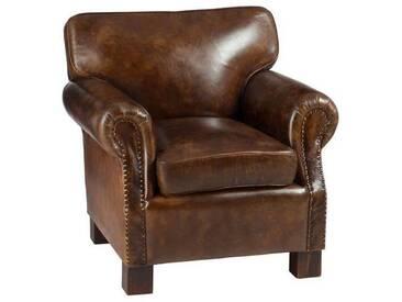 Sofa 1 personne cuir marron BELKA by J-Line