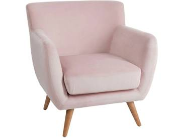 Fauteuil club 1 personne velours rose BEECHINA by J-Line