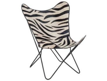 Fauteuil papillon lounge cuir metal zebre BELGRAVE HEIGHTS by J-Line