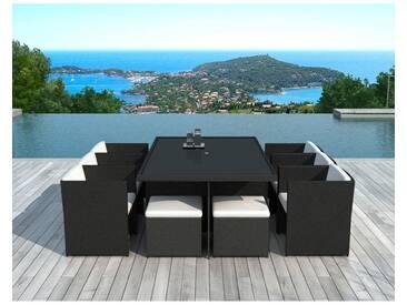 x6 Fauteuils + 4 poufs + tables jardin DELORM BLACK
