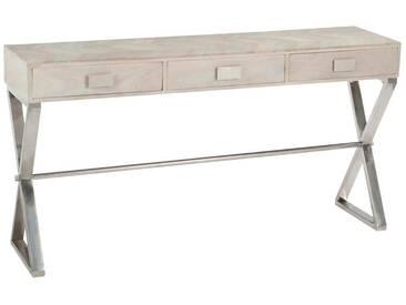 Console 3 tiroirs motifs bois inox BANKSMEADOW by J-Line