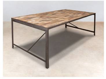 Table de repas rectangle bois recyclé 200x100x78cm CARAVELLE