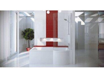 Baignoire asymétrique INSPIRO 150/160/170 cm x 70 cm avec pare baignoire - Droit - 150 cm