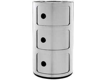 Kartell Meuble de rangement Componibili - 3 compartiments - chrome