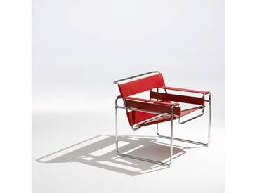 Knoll International Fauteuil Lounge Breuer Original Wassily  - Spinneybeck Cuir rouge