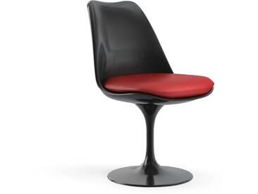 Knoll International Saarinen Tulip Stuhl - noir - Coque dassise complètement rembourrée - KnollDrehbar - Vinyle - Vinyl - rouge clair
