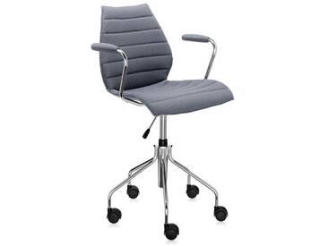 Kartell Chaise rotative Maui - avec accoudoirs - Trevira grise