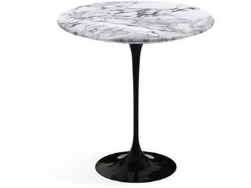 Knoll International Table dappoint Saarinen - Ø 51 cm - noir - Marbre Arabescato-très brillant