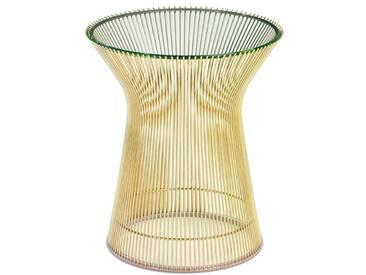 Knoll International Table dappoint Platner  - Verre bronze - Enduit dor 18 carats