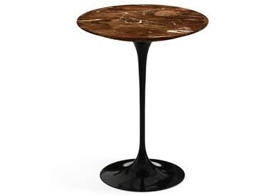 Knoll International Table dappoint Saarinen - noir - Marbre Brown Emperador-satiné/mat - Ø 41 cm