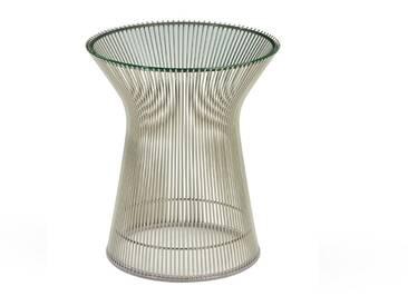 Knoll International Table dappoint Platner  - Verre cristal - Nickel poli