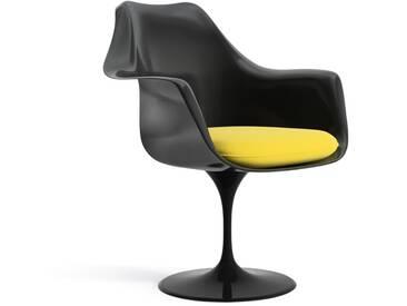 Knoll International Saarinen Tulip Armlehnstuhl - Coussin dassise - noir - KnollFixiert - Ultrasuede - Ultrasuede - jaune