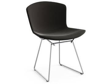 Knoll International Chaise Bertoia Side - Rembourré - Ultrasuede - noir - Chrome brillant