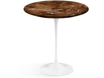 Knoll International Table dappoint Saarinen - Marbre Brown Emperador-très brillant - Ø 51 cm - blanc