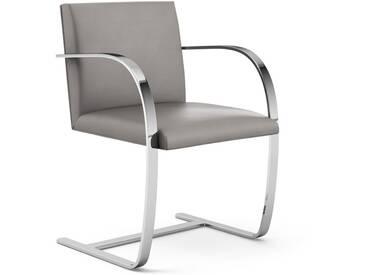Knoll International Chaise avec accoudoirs Brno - Acier plat - Volo Flint - gris - KnollOhneArmauflage