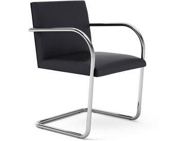 Knoll International Chaise avec accoudoirs Brno - Tube rond - KnollMitArmauflage - Volo Black - noir