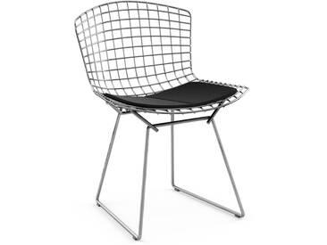 Knoll International Bertoia Side Stuhl - Chrom glänzend - Ultrasuede schwarz
