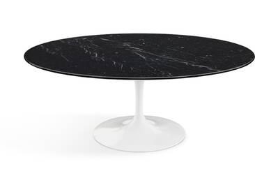 Knoll International Table basse Saarinen - Oval - Marbre Nero Marquina-très brillant - blanc
