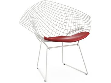Knoll International Fauteuil Bertoia Diamond  - Vinyl - rouge clair - Rilsan revêtement blanc
