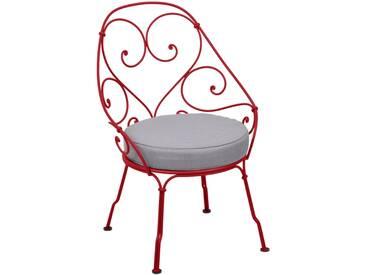 Fermob Fauteuil 1900 Cabriolet - gris flanelle - 67 rouge coquelicot