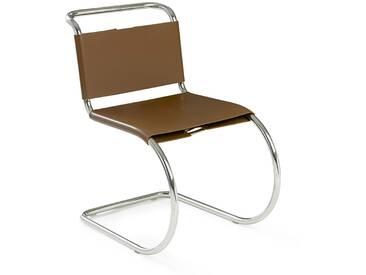 Knoll International Chaise MR Side  - Cuir de vachette marron