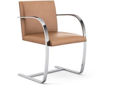 Knoll International Chaise avec accoudoirs Brno - Acier plat - KnollMitArmauflage - Volo Tan- marron