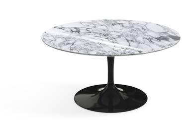 Knoll International Table basse Saarinen - Ø 91 cm - noir - Marbre Arabescato-très brillant
