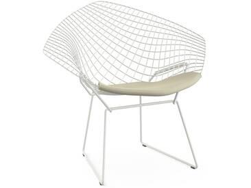 Knoll International Fauteuil Bertoia Diamond  - Rilsan revêtement blanc - Ultrasuede - beige