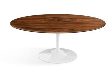Knoll International Table basse Saarinen - Oval - blanc - Placage de palissandre Santos