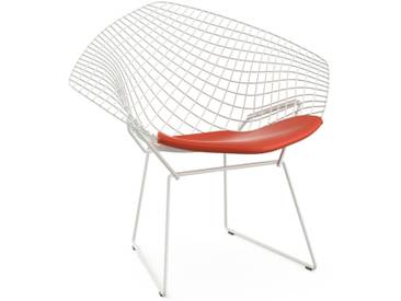 Knoll International Fauteuil Bertoia Diamond  - Rilsan revêtement blanc - Vinyl - orange