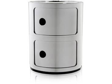 Kartell Meuble de rangement Componibili - 2 compartiments - chrome