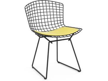 Knoll International Bertoia Side Stuhl - Rilsanbeschichtung schwarz - Vinyl gelb