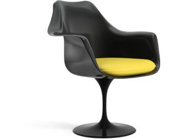 Knoll International Saarinen Tulip Armlehnstuhl - Coque dassise complètement rembourrée - noir - KnollDrehbar - Vinyl - jaune - Vinyle