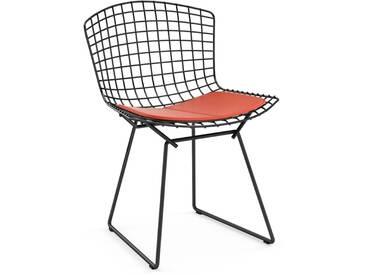 Knoll International Bertoia Side Stuhl - Rilsanbeschichtung schwarz - Vinyl orange